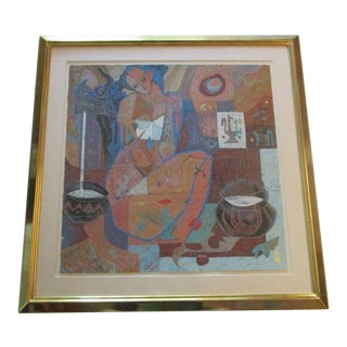 1990s Abstract Chinese He Neng Serigraph For Sale