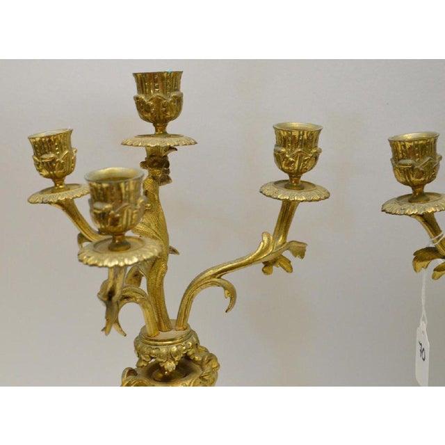 Baroque Gilt Bronze 4 Light Candelabras - a Pair For Sale - Image 3 of 5
