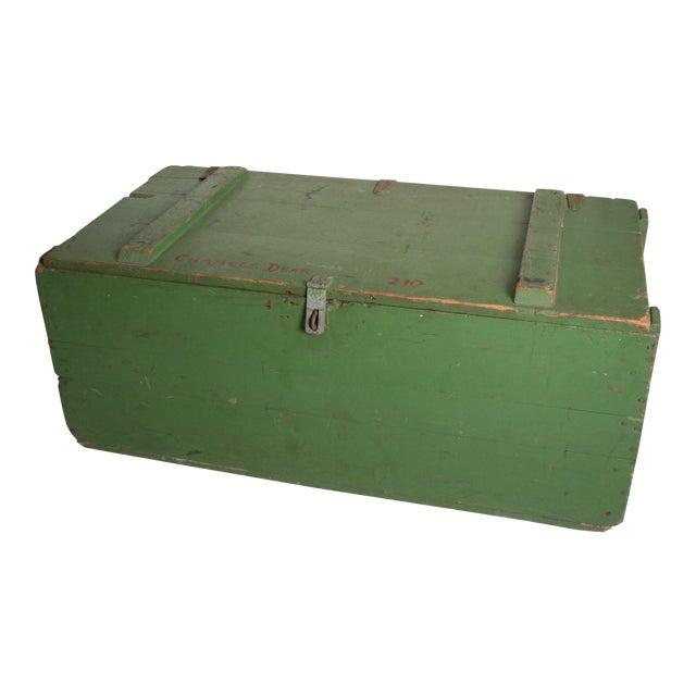 Vintage Military Green Wood Foot Locker - Image 1 of 11