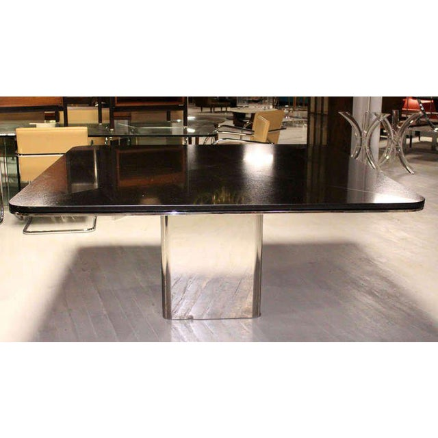 Impressive 5X5' square black marble alternative conference table by Brueton. Made in the 1970s.