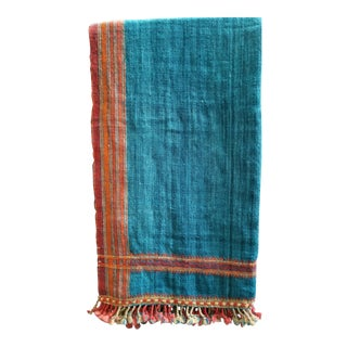 Vankar Indigo and Orange Wool Throw For Sale