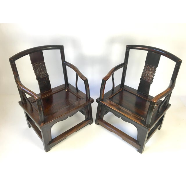 Asian Antique Rosewood Chinese Official's Chairs - Pair For Sale - Image 3 of 9