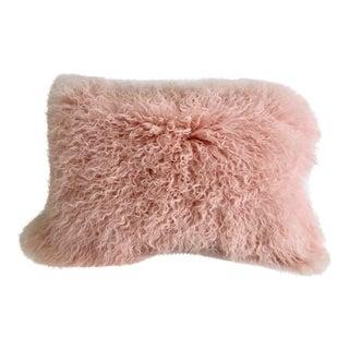 Pink Tibetan Curly Lamb Accent Pillow