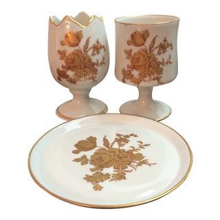 1960's Vintage Limoges Porcelain Egg Cups & Small Plate- 3 Pieces For Sale