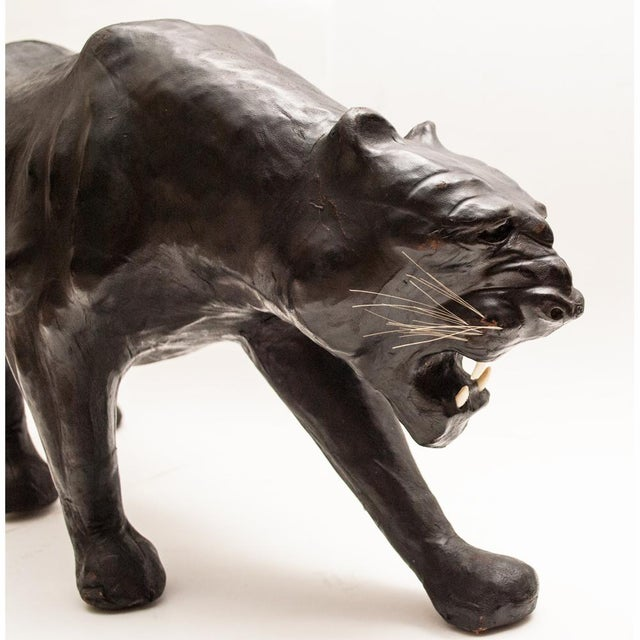 Mid-Century Large Black Leather Panther Sculpture For Sale In Dallas - Image 6 of 12
