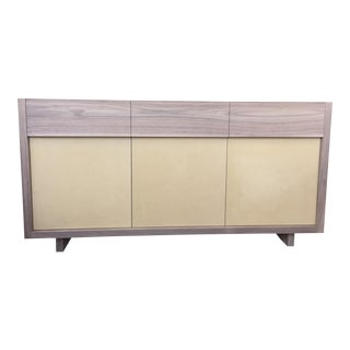 Unfinished Solid Walnut Credenza With Lacquered Cabinet Doors
