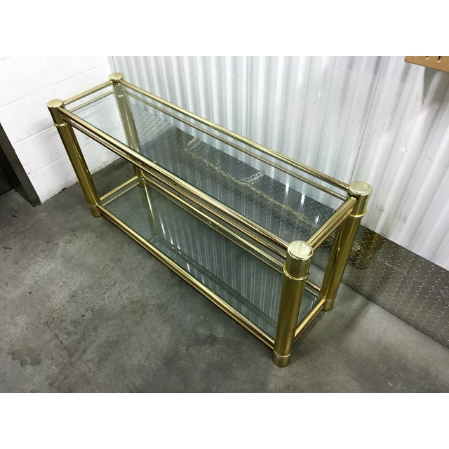 Brass Frame Double-Tier Glass Console Table - Image 3 of 6