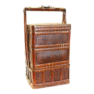Early 20th Century Large Stacking Chinese Bamboo Basket For Sale
