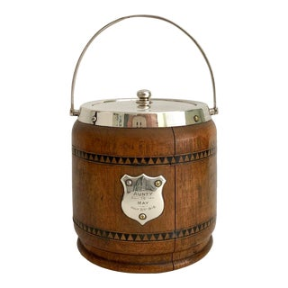 1915 English Oak & Silver Biscuit Barrel For Sale
