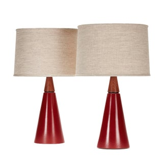 Wyatt Lamp in Wet Rust Glaze With Sapele Cap - a Pair For Sale