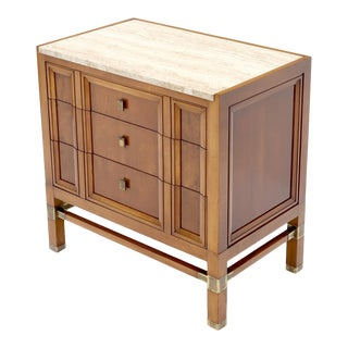 Travertine Top Three Drawers Bachelors Chest with Brass Pulls and Accents For Sale