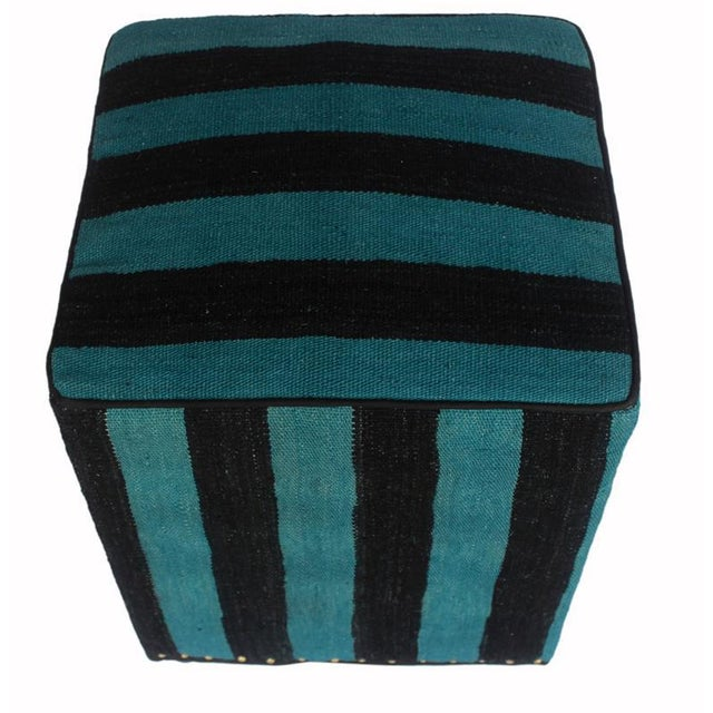 Arshs Deedee Blue/Black Kilim Upholstered Handmade Ottoman For Sale - Image 4 of 8