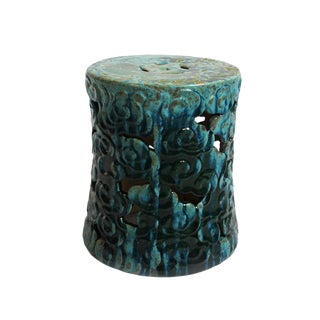 Turquoise Ceramic Garden Stool For Sale