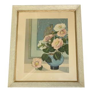 Midcentury Asian Chinoiserie Framed Print For Sale