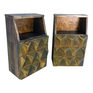 Mid-Century Modern Sculptural Diamond Front Side Tables - A Pair For Sale
