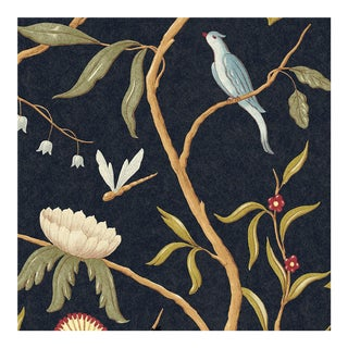 Adam's Eden Ebony Botanic Style Wallpaper Sample For Sale