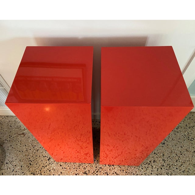 2010s Vintage Minimalist Red Pedestals - a Pair For Sale - Image 5 of 13