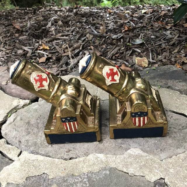 Bronze Marion Bronze Co. Americana Patriotic Cannon Bookends - a Pair For Sale - Image 7 of 12
