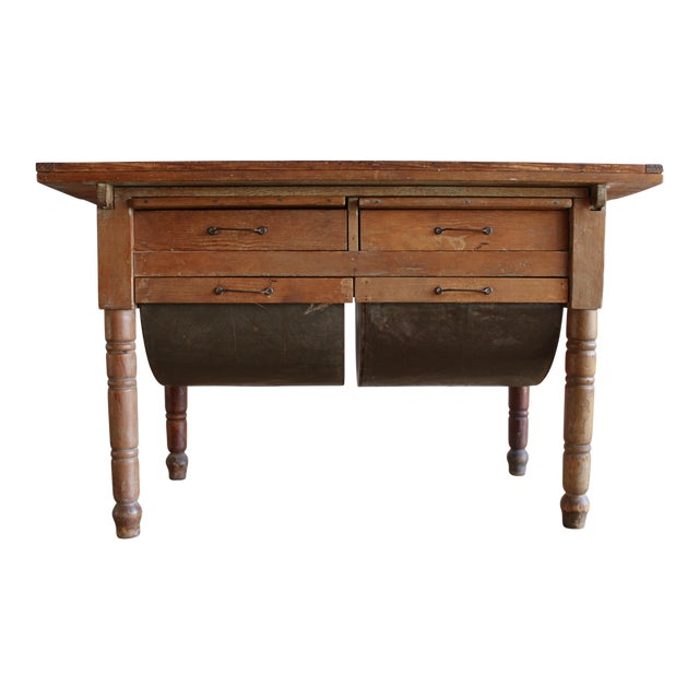 Antique Early 20th Century Primitive Shaker Farmhouse Dining Table Possum Belly Baker's Table Kitchen Island For Sale