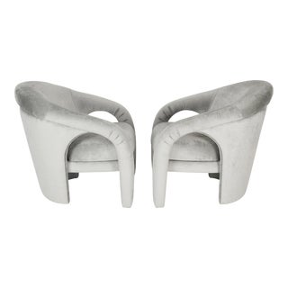 1980's Upholstered Sculptural Lounge Chairs- A Pair For Sale