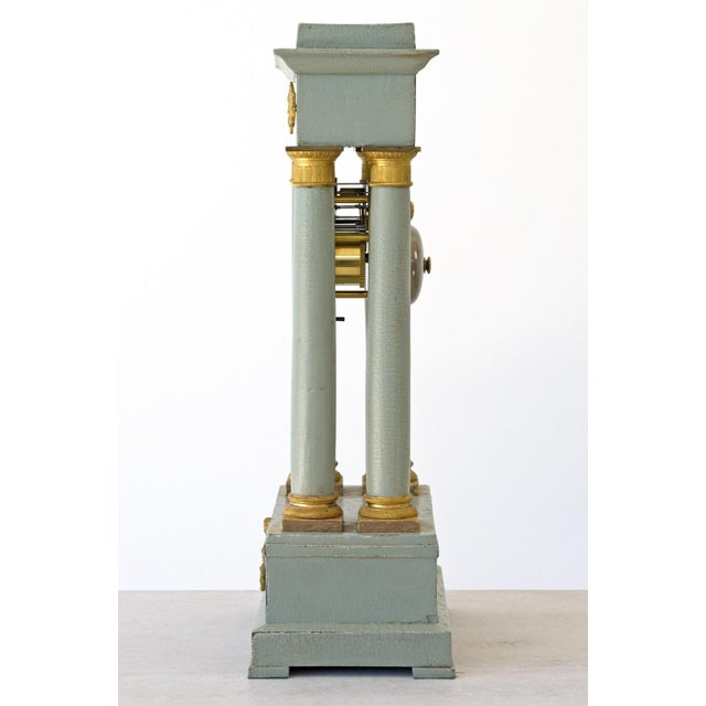 Mid 19th Century French Empire Portico Gridiron Mantle Clock For Sale - Image 4 of 8