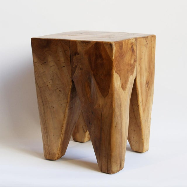 This is a four-leg teak root stool with a beautiful hand-waxed finish. The grain and pattern vary by stool as each is...