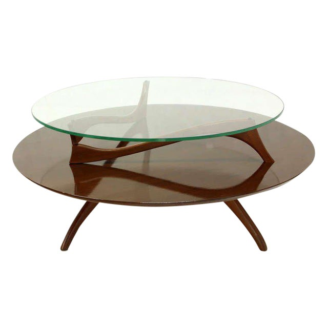 Vintage Mid Century Walnut And Glass Round Two Tier Center Or Coffee