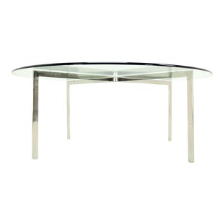 Mid-Century Modern Chrome X Base Thick Round Glass Top Coffee Table For Sale