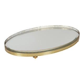 Gilt Gold Footed Dresser Tray For Sale