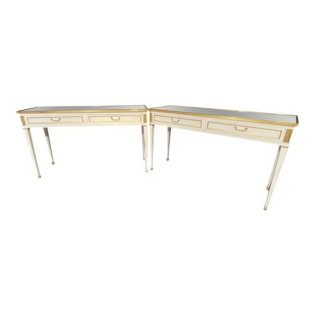 Jansen Hollywood Regency Style Console / Sofa Tables, Mirrored & Painted - a Pair For Sale