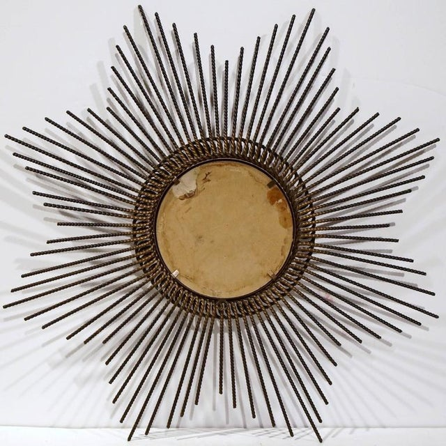 Early 20th Century French Sunburst Mirror With Antique Bronze Finish For Sale - Image 9 of 9