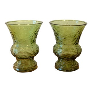 Vintage Green Glass Vases - A Pair