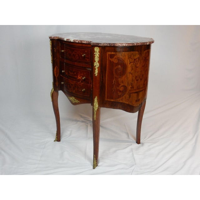 Red 19th C. Italian Marquetry Marble Top Inlaid Table For Sale - Image 8 of 11