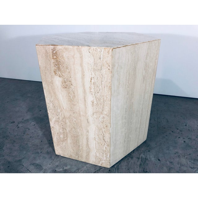 1970s 1970s Mid-Century Modern Hexagonal Italian Travertine Pedestal or Side Table For Sale - Image 5 of 10