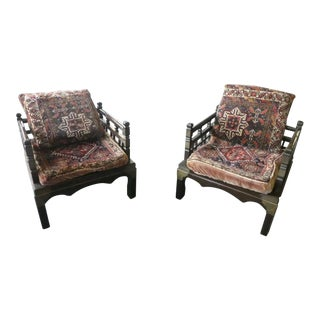1950s Vintage Magical Middle Eastern Lounge Chairs- A Pair For Sale