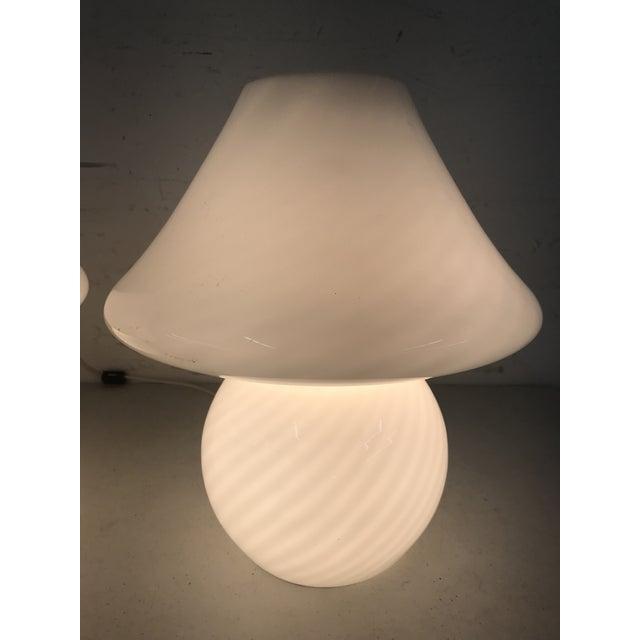 White 1960s White Swirl Venini Murano Mushroom Glass Lamps - a Pair For Sale - Image 8 of 9
