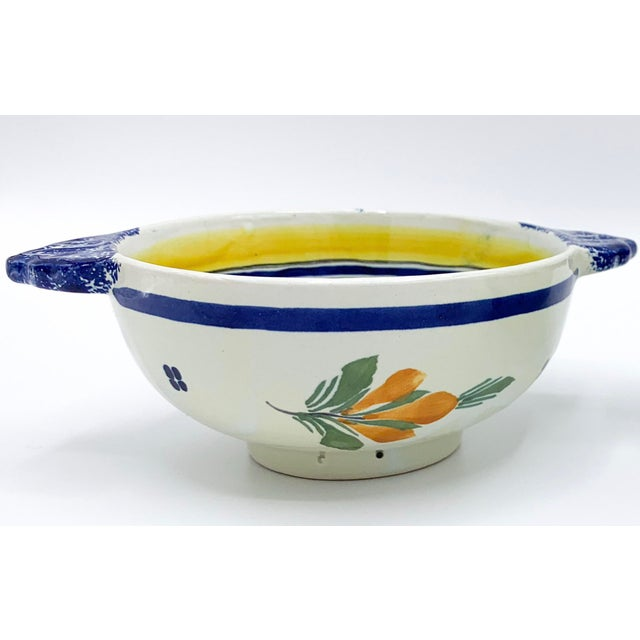 Henriot Quimper French HenRiot Quimper Signed Lug Bowls- a Pair For Sale - Image 4 of 12