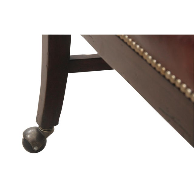 Traditional Brown Leather Desk Chair - Image 5 of 6