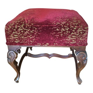 Antique Velvet Footstool For Sale