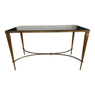 Vintage Marble Top + Brass Coffee Table For Sale