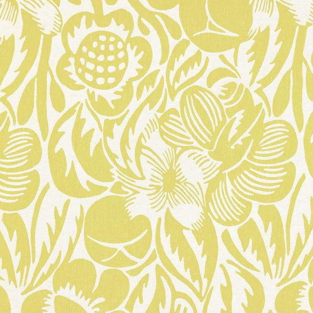 Transitional Scalamandre Deco Flower Fabric in Chartreuse For Sale - Image 3 of 3