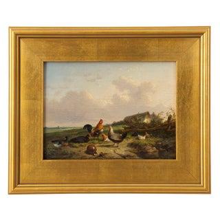 Belgian Landscape Painting of Poultry by Cornelis Van Leemputten, 19th Century For Sale