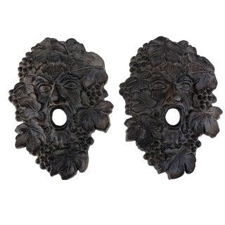 "Bacchus Head Cast Iron Architectural Garden Art Wall Decor - a Pair 11"" H For Sale"
