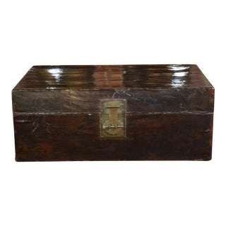 Late 19th C. Chinese Leather Trunk For Sale