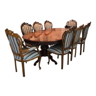 Golden Walnut Dining Room Set With Italian Hand Painted Design For Sale