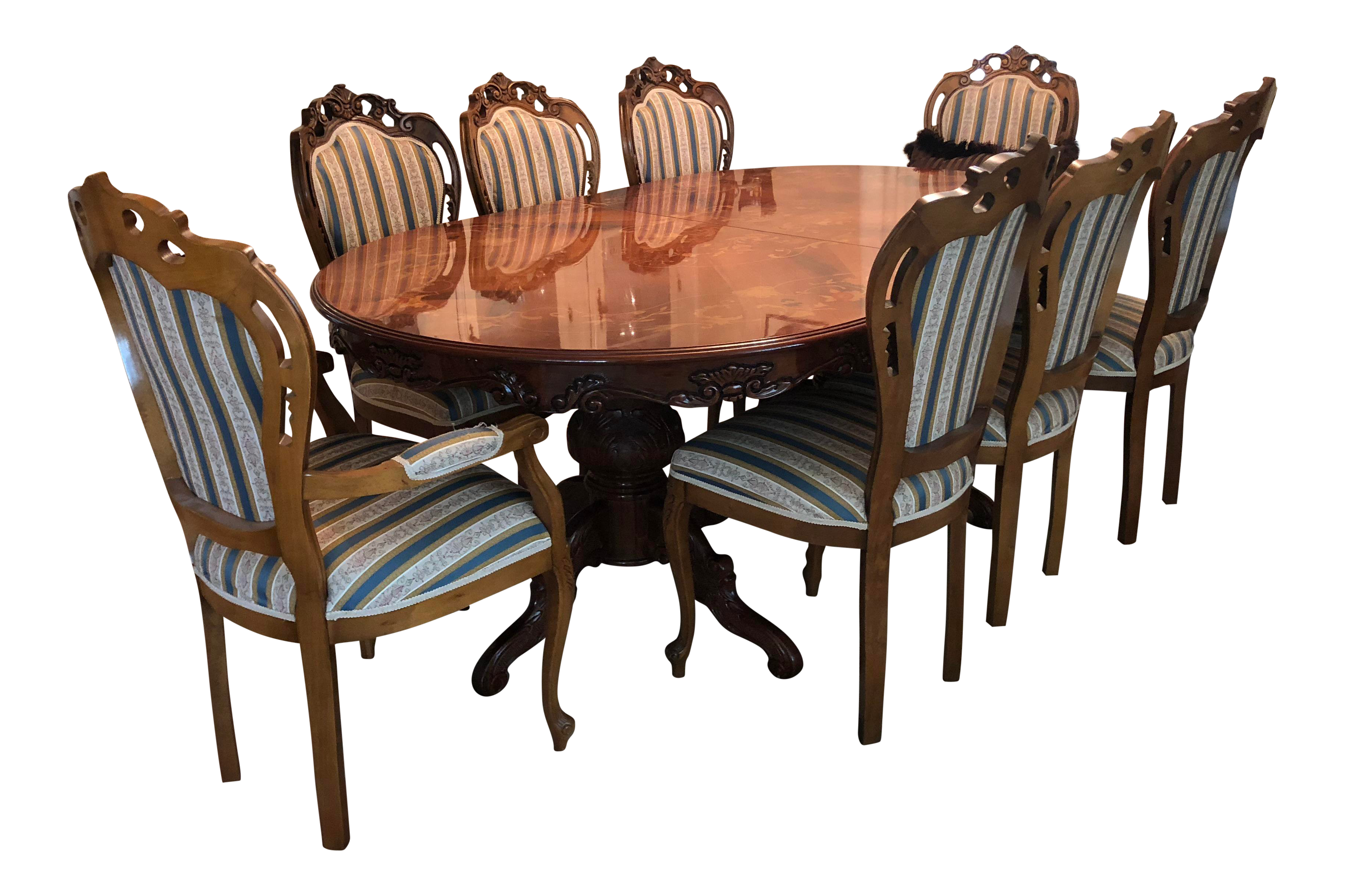 Golden Walnut Dining Room Set With Italian Hand Painted Design | Chairish