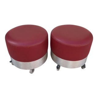 Mid-Century Modern Space Age Red Ottomans - a Pair For Sale