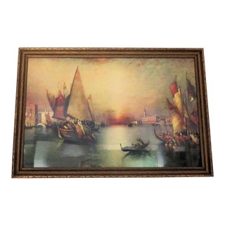 "Antique Renaissance Venice Italy ""Harbor"" Print For Sale"