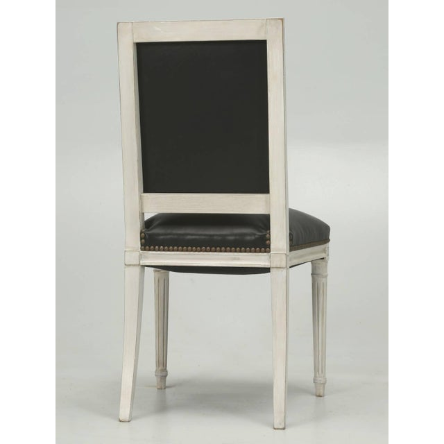 French Louis XVI Style Dining Chairs in Black Leather and Distressed White Paint - Set of 6 For Sale - Image 9 of 12