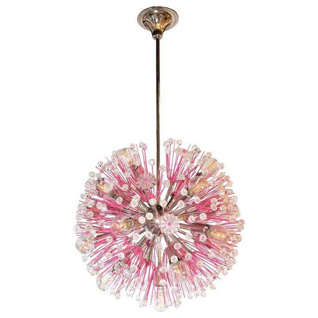Midcentury Modern Glass, Chrome and Fuschia Enamel Chandelier by Rupert Nikoll For Sale - Image 12 of 12